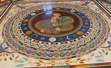 Visitas al Vaticano - Sol, Luna y Estrellas en el mosaico del suelo del Vaticano